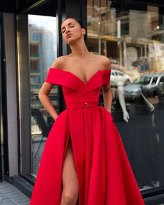 Long Evening Dress  Sexy High Slit V-neck Cap Sleeve Arabic Style Dubai