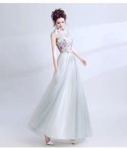 Elegant soft color with embroidery fower prom Gown chiffon formal Evening dress