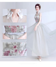 Load image into Gallery viewer, Elegant soft color with embroidery fower prom Gown chiffon formal Evening dress
