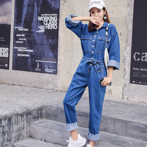 Denim Overalls  Autumn Long Sleeve Bodysuit High Waist Jeans