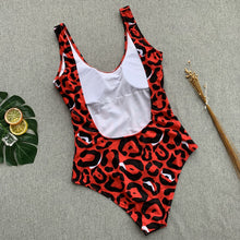 Load image into Gallery viewer, Red leopard swimsuit one piece Bandage sexy bikini Push up
