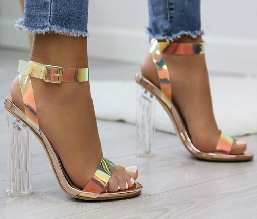 2019 Summer PVC Clear Transparent Strappy High Heels