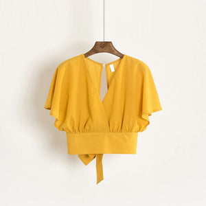Summer V-neck Shirts Backless Bowtie Lace Up Chiffon