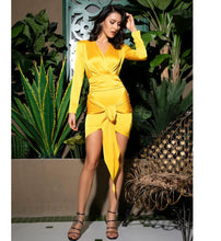 Load image into Gallery viewer, Yellow Deep V-Neck Open Back Ruffled Ribbon Bodycon
