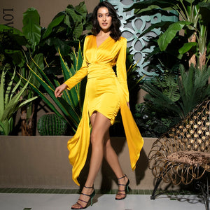 Yellow Deep V-Neck Open Back Ruffled Ribbon Bodycon