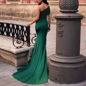 Off Shoulder High Split Dress