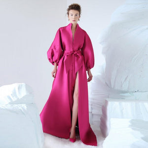Spring Prom Gowns Flare Sleeves Pleated Fuchsia Formal Dress