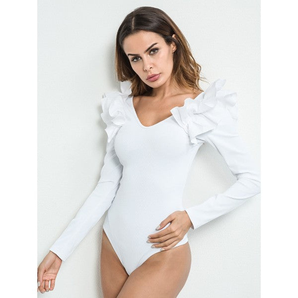 Ruffled Shoulder BodySuit