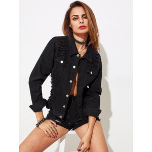Slashed Draped Back Denim Jacket
