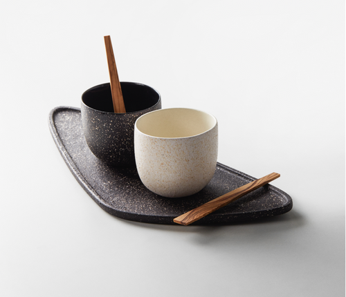 GöKHAN ZiNCiR - MONO - black & white set with natural wood spoon and black ceramic tray.