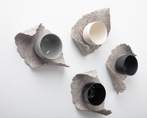 GöKHAN ZiNCiR - ROCK - perfectionist cup with organic shaped plates are made with very special grey clay with black stones