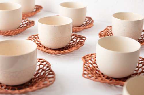 GöKHAN ZiNCiR - LACE - a white single cup with a plate that made with traditional terra-cotta clay without glazing.
