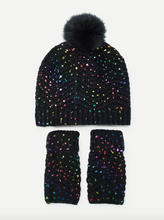 Glittered Knit Hat & Gloves