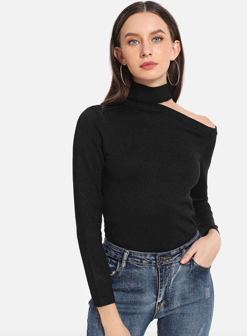 Cut Out High Neck Jumper