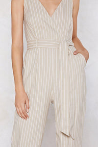 You Got It in One Striped Jumpsuit