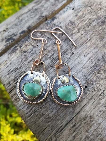 green turquoise earrings horse creek jewelry