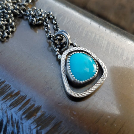 American Blue Turquoise Charm Necklace - HorseCreekJewelry