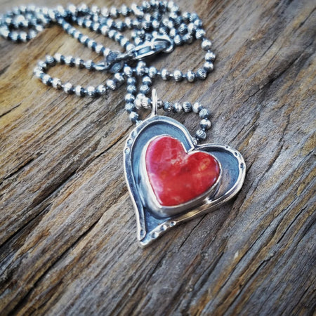 Red Valentine Heart Sterling Silver Necklace