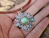 Flower Sterling Silver Necklace, Turquoise Flower
