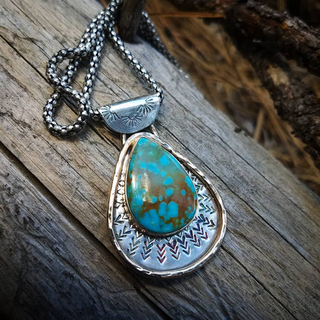 Number 8 Mine Western Cowgirl Turquoise Statment Necklace