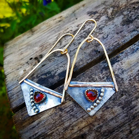Garnet Gold and Silver Earrings - HorseCreekJewelry