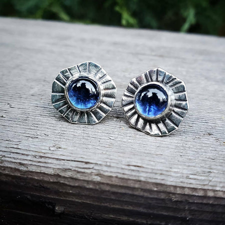Blue Sapphire Sterling Silver Stud Post Earrings