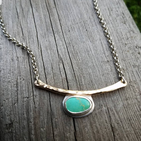 simple turquoise silver and gold necklace