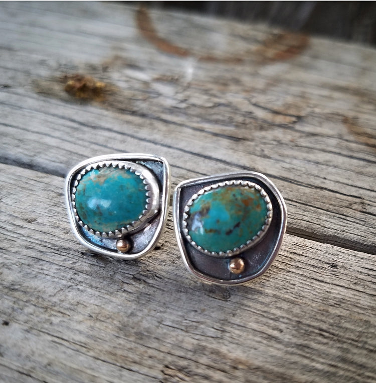 Large Green Turquoise Sterling Silver Navajo Studs