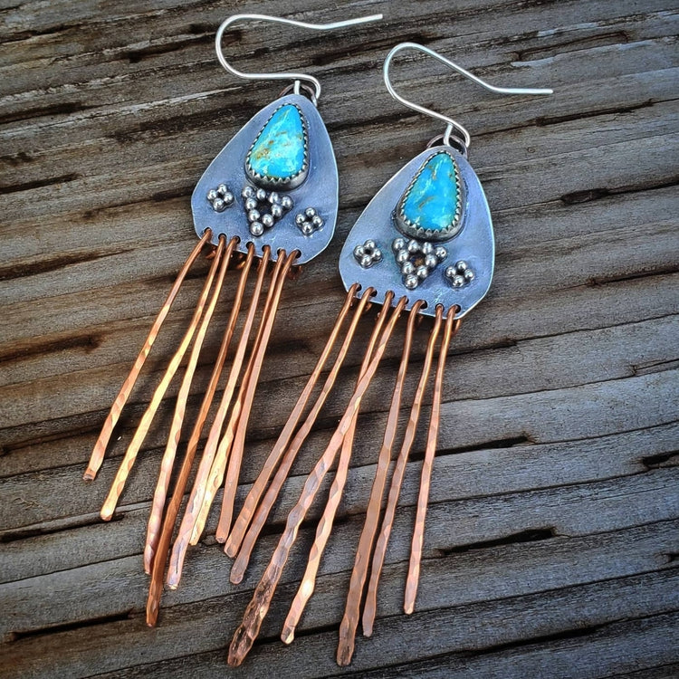 Turquoise Copper Fringe Native American Earrings
