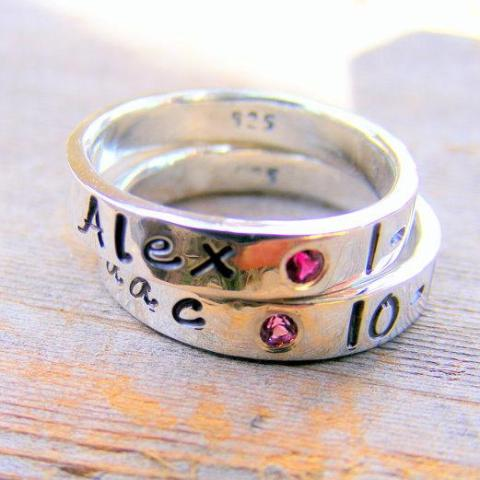 Mother's Day Birthstone Ring - Flush Set Gemstones -personalized - Engraved - Childrens Name - Stacking Rings - Memory Ring - HorseCreekJewelry