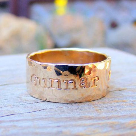 Wide Gold Ring - Gold Duck Band- Personalized Custom Engraved- Men Wedding Engagement Unisex Jewelry, Gold Filled , 14kt Rose Or Yellow Gold - HorseCreekJewelry