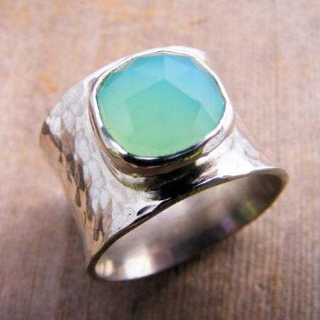 Wide Sterling Silver Aqua Chalcedony Gemstone Chunky Ring Band, Ocean Beach Sea Ring, Turquoise, Aquamarine, Cocktail Ring, Statement Ring - HorseCreekJewelry