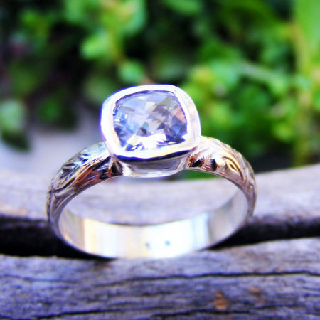 White Topaz Sterling Silver Floral Pattern Ring Band, Wedding Or Engagement Ring, Alternative Diamond Ring, Handcrafted By Helene's Dreams - HorseCreekJewelry