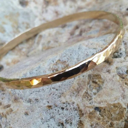 Gold Bangle Bracelet thick and wide with hammered shiny texture. Available in Gold Filled, Rose Gold Filled, 14kt Gold, or 14kt Rose Gold. - HorseCreekJewelry