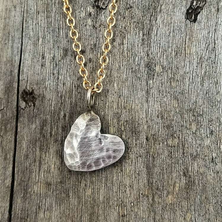 Rustic Silver Heart Love Charm Necklace on a Gold Filled Chain.  Valentines Day Gift. - HorseCreekJewelry