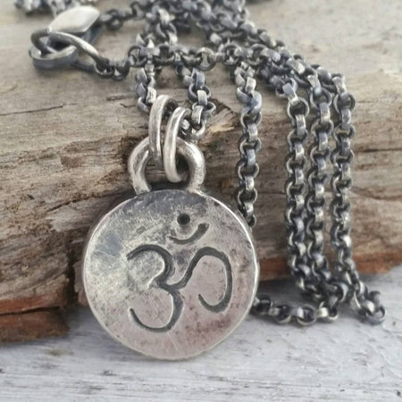OM Necklace, OHM Pendant, Rustic Sterling Silver OM Yoga Jewelry. Custom personalized engraved charm. Unisex. - HorseCreekJewelry