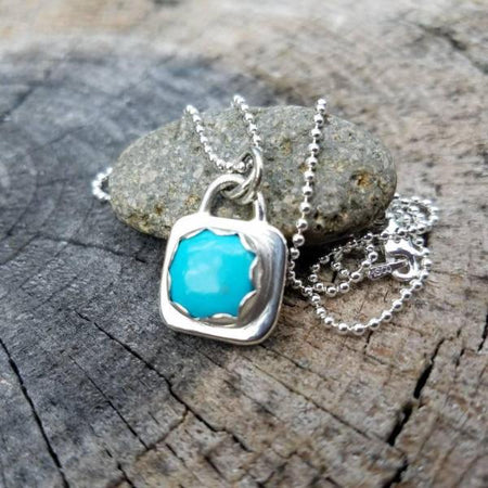 Simple Turquosie Pendant Sterling Silver Necklace - HorseCreekJewelry