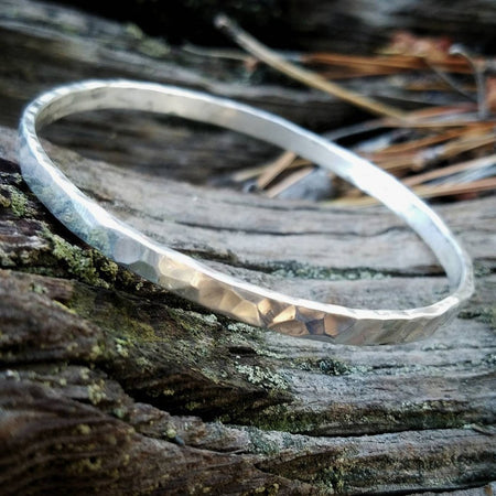 Sterling Silver Hammered Bangle Stacking Bracelet - HorseCreekJewelry