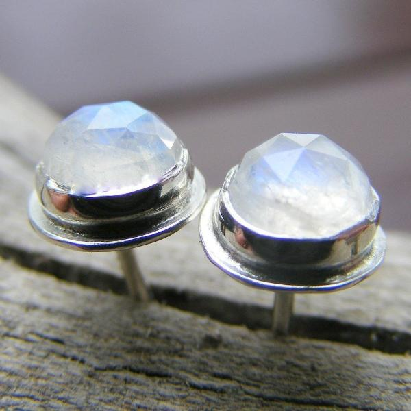 Moonstone Faceted Rosecut Sterling Silver Stud Post Earrings - HorseCreekJewelry