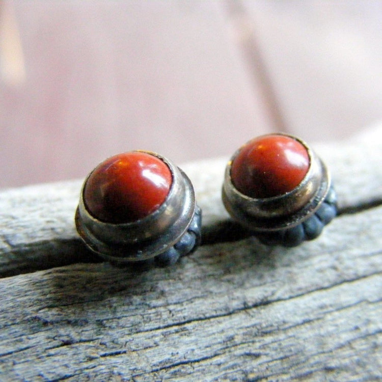 Red Studs, Red Jasper Stud Earrings Sterling Silver Oxidized Rustic - HorseCreekJewelry