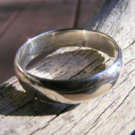 Sterling Silver Wedding Ring Band - Unisex Men Womens - Promise, Engagement, Simple Jewelry - Handcrafted By Helene's Dreams - HorseCreekJewelry