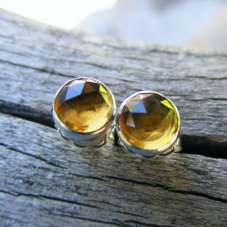 Whiskey Quartz Studs, Like Citrine Color Gemstones, 6mm rosecut gemstone studs, - HorseCreekJewelry