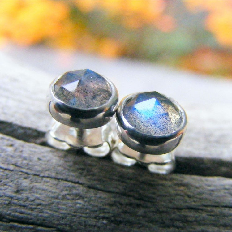 Labradorite Sterling Silver Studs Post Earrings - HorseCreekJewelry