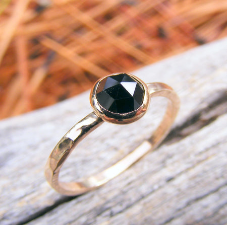 Solid Gold Stacking Ring, Melanite Garnet Rose Cut Gold Stacking Ring, Black Gemstone Ring, Solid Gold Stacking Ring - HorseCreekJewelry