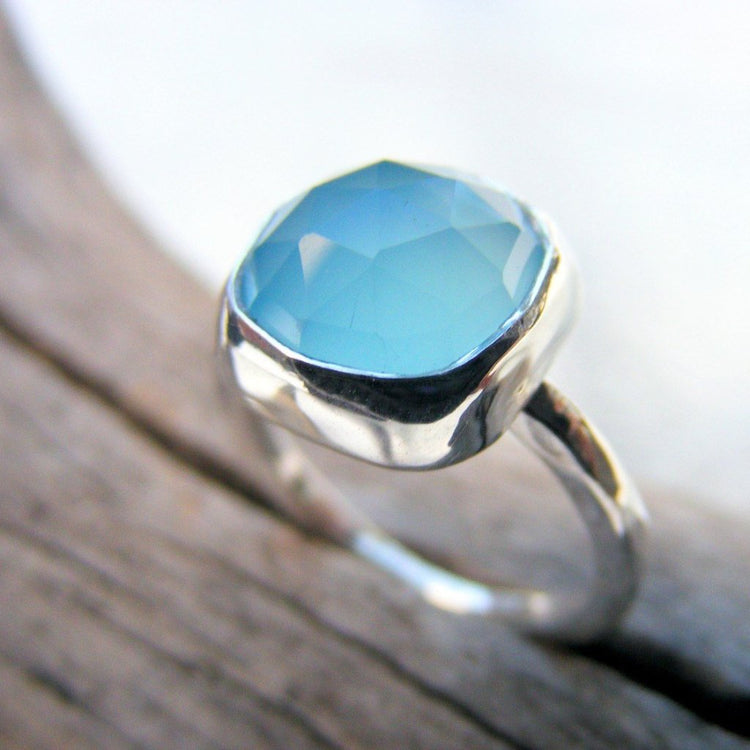 Blue Chalcedony Gemstone Sterling Silver Cocktail Ring - HorseCreekJewelry