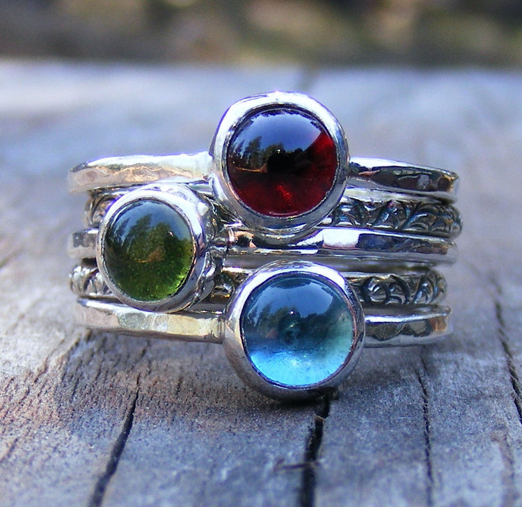 Mothers Birthstone Stacking Rings - Garnet, London Blue Topaz And Peridot Gemstones In Recycled Sterling Silver -  Mother's Day Gift Ring - HorseCreekJewelry