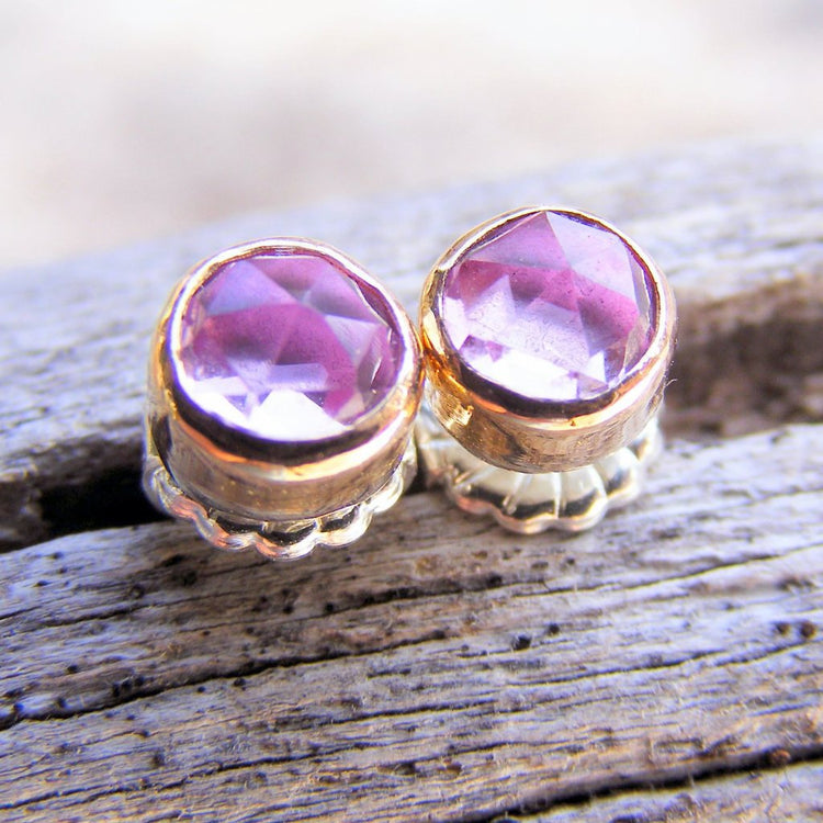 Pink Sapphire Gold Studs Post Earrings, Pink Rose Cut Gemstone, Available In Sterling Silver, Handcrafted Rustic Jewelry - HorseCreekJewelry