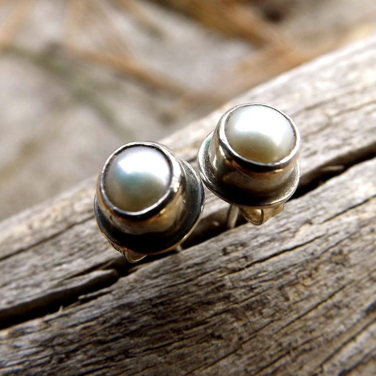 Pearl Sterling Silver Studs, Pearl Post Earrings Set In Recycled Oxidized Sterling Silver, Wedding Bridal Jewelry - HorseCreekJewelry