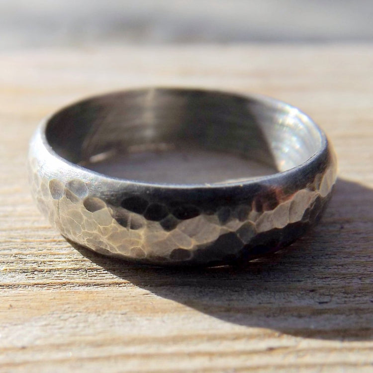 Sterling Silver Wedding Band, Rustic Mens Or Womens Hammered Textured Oxidized Silver Ring Band,  Darkened Silver Ring Band, Gunmetal Look - HorseCreekJewelry