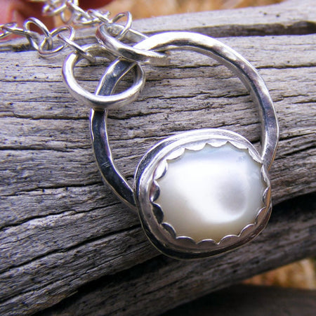 Pearl Necklace, Mother Of Pearl Sterling Silver Pendant, Bridal, Wedding, June Birthstone, White Gemstone Jewelry, Handcrafted - HorseCreekJewelry